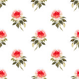 Roses bouquets watercolor seamless pattern in yellow and red Stock Photography