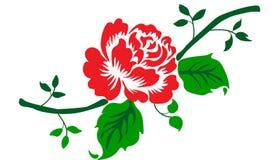 Roses, bourgeons rouges et feuilles vertes D'isolement sur le fond blanc Vecteur illustration stock
