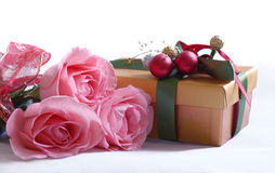 Roses and box of chocolates Royalty Free Stock Photography