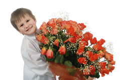 Roses  and boy Royalty Free Stock Image