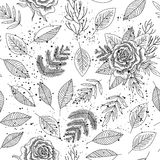 Roses and branches of leafs seamless background vector stock illustration