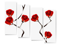 Roses on branches, modern design. Stock Photos