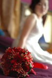 The roses and the bride. Bride and the red rose flowers royalty free stock photo