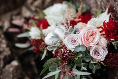 Roses in a brides flower bouquet stock photos