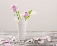 roses in broken vase on old wooden table Stock Images