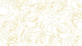 Roses bud outlines. Pattern with flowers in yellow and golden colors. Abstract art, hand-drawn romantic background. Vector illustration, eps10 royalty free illustration