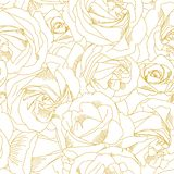 Roses bud outlines. Seamless pattern with flowers in yellow and golden colors. Abstract art, hand-drawn romantic. Background. Vector illustration, eps10 royalty free illustration