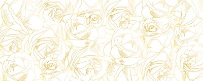 Roses bud outlines. Vector pattern with contours of flowers in golden colors. Abstract art, hand-drawn romantic. Background. Vector illustration, eps10 royalty free illustration