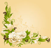 Roses with butterfies on the background. Royalty Free Stock Photo