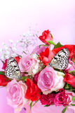 Roses with butterflies Royalty Free Stock Images