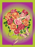 Roses and butterflies on a color background Stock Photos