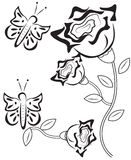 Roses with butterflies coloring page Royalty Free Stock Photos