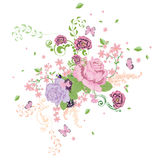 Roses and Butterflies Ornament Stock Photography