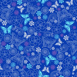 Roses and Butterflies Seamless Repeat Pattern. Vector Illustration Background stock illustration