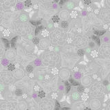 Roses and Butterflies Seamless Repeat Pattern. Vector Illustration Background Royalty Free Stock Images