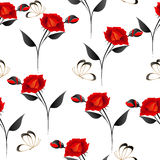 Roses with butterflies on a white background, seamless pattern. Stock Photography