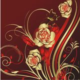 Roses and the butterfly. Gold roses on a red background with flying around the butterfly Royalty Free Stock Photos