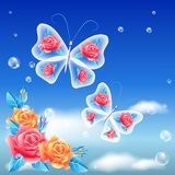 Roses and butterfly Stock Photography