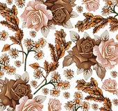 Roses. Camomiles. Ears pattern. Realistic isolated flowers. Vintage baroque background. Wallpaper. Drawing engraving. Stock Photography