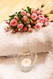 Roses with a candle Royalty Free Stock Photo