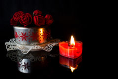 Roses and candle Stock Image
