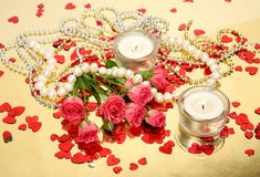 Roses and candles Stock Image