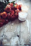 Roses and candles Royalty Free Stock Photography