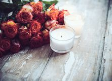 Roses and candles Royalty Free Stock Photos