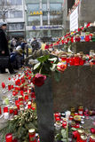 Roses and candles on the Wenceslas monument Royalty Free Stock Image