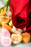Roses and Candy Hearts Royalty Free Stock Images