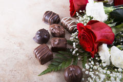 Roses and Candy royalty free stock photography