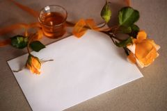 Roses and card background Stock Photos