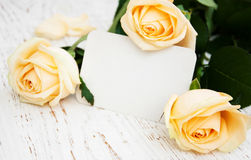 Roses with a card Royalty Free Stock Images