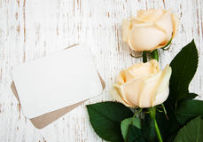 Roses with a card Stock Photos