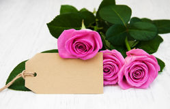 Roses with a card Royalty Free Stock Photography