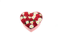 Roses and carnations held in the heart shape box Royalty Free Stock Images