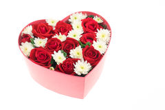 Roses and carnations held in the heart shape box Royalty Free Stock Photos