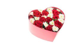Roses and carnations held in the heart shape box Stock Photo