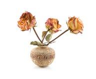 Roses in ceramic vase Stock Photo