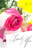 Roses, chamomile, chrysanthemums and a card Stock Images