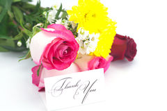 Roses, chamomile, chrysanthemums and a card Stock Photography