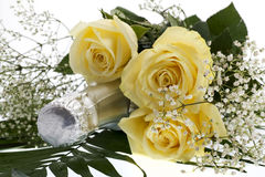 Roses with champagne bottle Stock Photos
