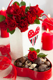 Roses  and chocolate candies for Valentine's Day Stock Photography