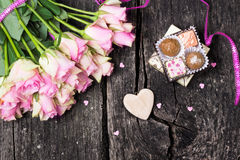 Roses and chocolates for Valentine's Day Stock Images