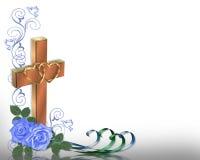 Roses chrétiennes de bleu d'invitation de mariage illustration libre de droits