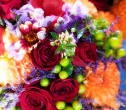 Roses, chrysanthemums & orchids bouquet. Colorful bouquet with red roses, chrysanthemums and orchids Stock Photography