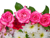 Roses and chrysanthemus on white background Stock Photo