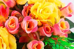 Roses. Colorful fabric roses closeup picture Royalty Free Stock Photos