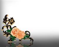 Roses Corner Design invitation Stock Photos