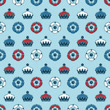 Roses and crowns pattern. Seamless pattern of crowns and tudor roses in red, white and blue, with clipping path Royalty Free Stock Photography